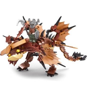 Ausini Dragon Knight Building Blocks Construction City Toys for Children Warrior Figures Bricks Dragon Trainer Creator Kids Toy