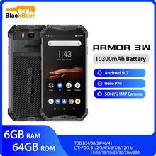 Ulefone armor 3W Waterproof Rugged Mobile Phones 2.4G/5G WiFi Android 9.0 Helio