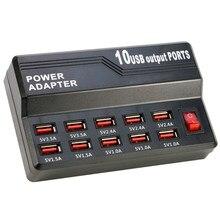 Station de Charge rapide intelligente à 10 ports USB 12A, puissance 60W, adaptateur USB poreux pour iPad, tablette, téléphone portable