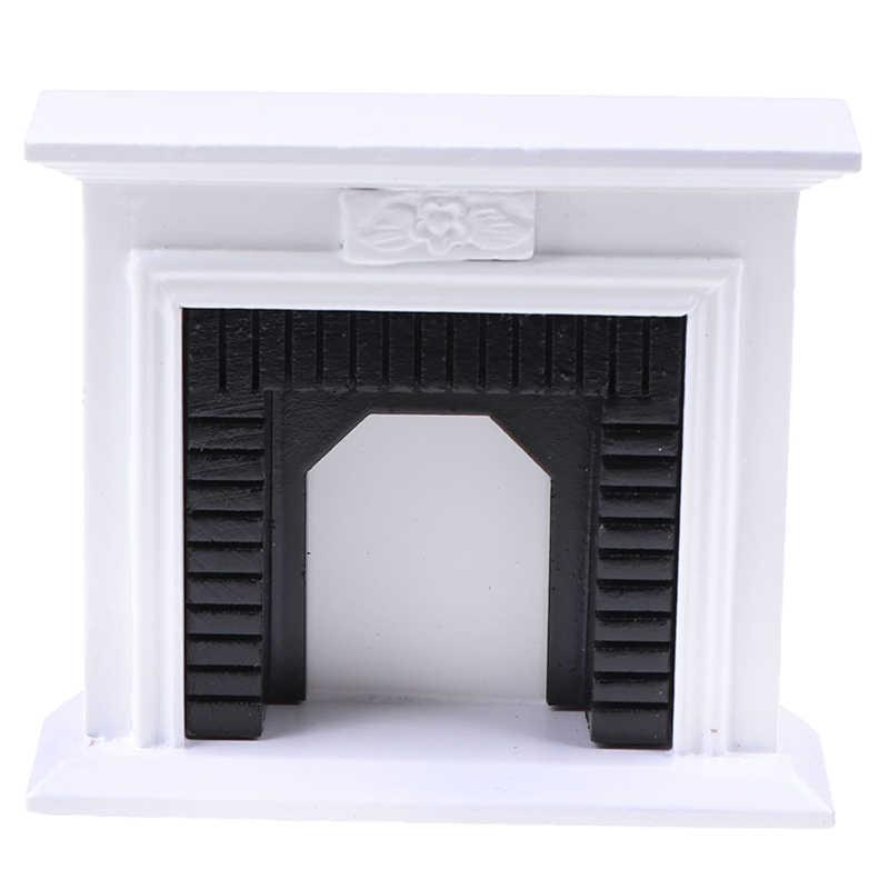 escala 1.12 Chimenea de esquina de Metal Negro casa de muñecas en miniatura