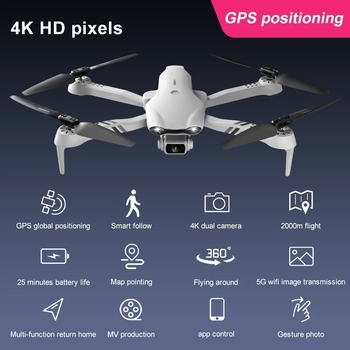2021 NEW F10 Drone 4K 5G WiFi Video FPV Quadrotor Flight 25 Minutes Rc Distance 2000m Gps Rc Drone HD Wide-Angle Dual Camera Toy 3