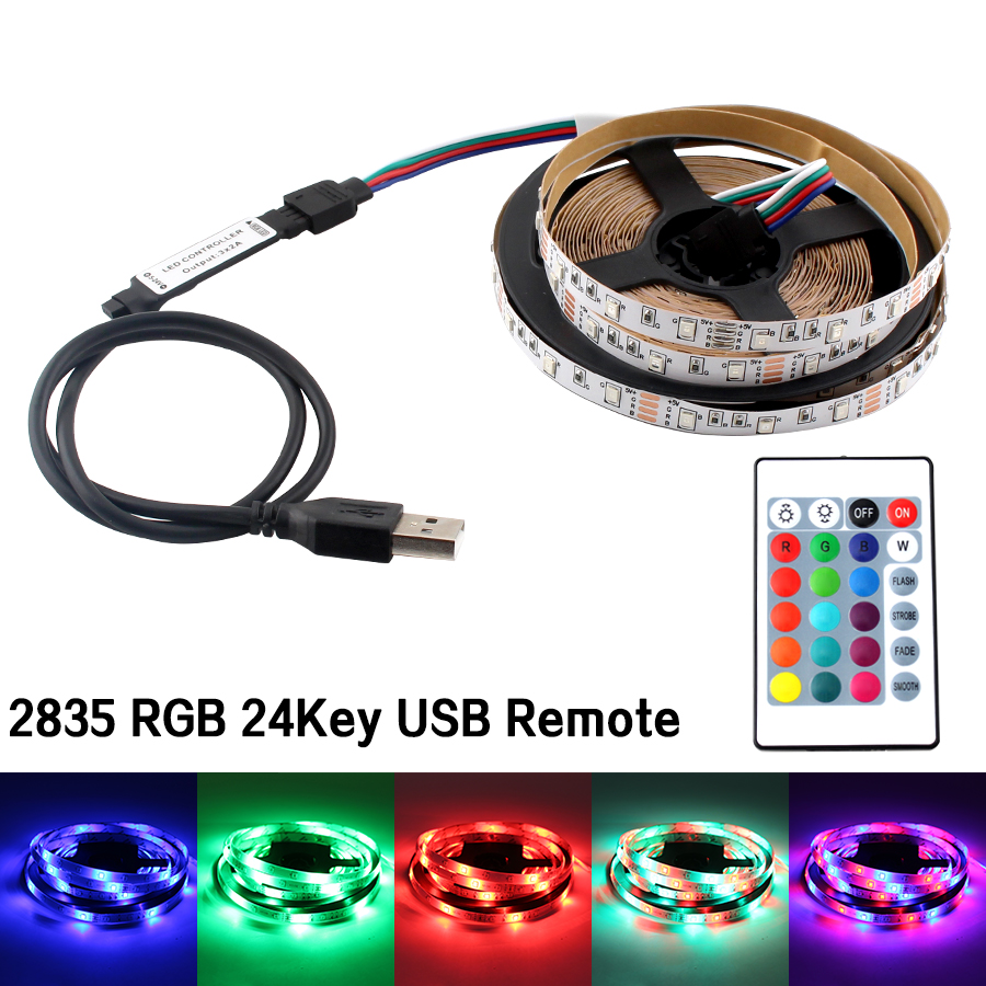 Flexible RGB LED Strip USB 5V Led Strip Light SMD 2835 60leds/m 5M Lighting TV Blacklight LedStrip Lights Lamp Tape Diode Ribbon