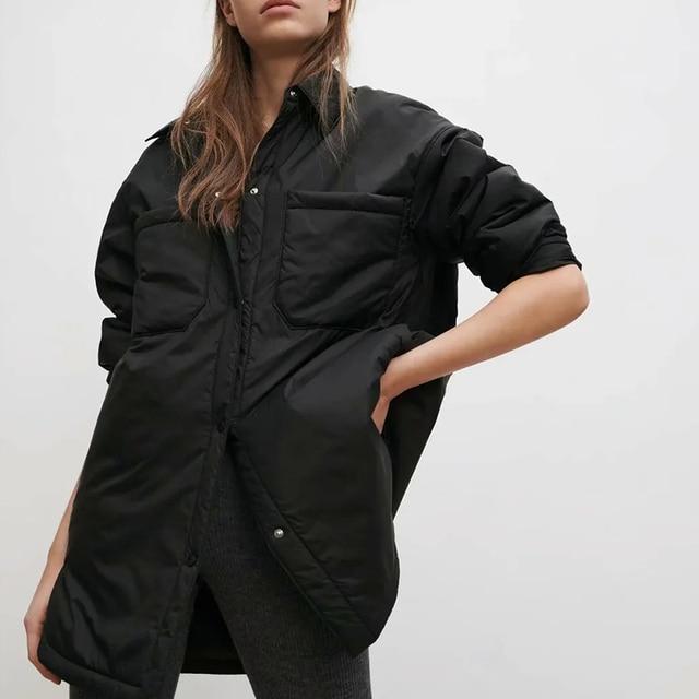 Za Women's Jackets Oversize Parkas Thin Coats Khaki Shirt Coat Long Femme BF Long Sleeves Big Pockets Outerwear Mujer Large Coat 4