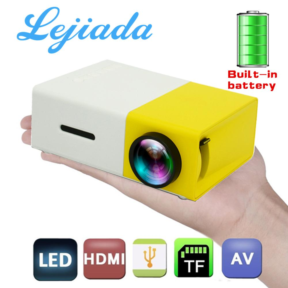 LEJIADA YG300 LED Mini Projector Built-in 1300mAh Battery 320x240 Pixels Supports 1080P Portable Projector Home Media Player title=