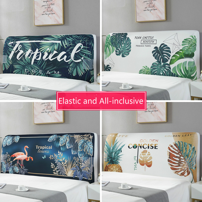 Elastic All-inclusive Headboard Cover With Plant Animal Printed Dust Proof Bed Head Cover Nordic Bed Head Back Protector 220cm