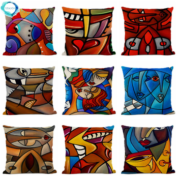 Abstract Art Portrait Cotton Linen Cushion Cover Geometric Oil Painting Contorted Figure Sofa Decorative Pillowcase 45x45cm image