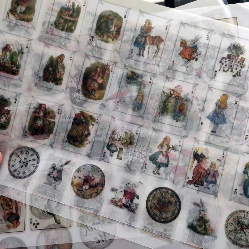 Cute Alice Series\Rabbit\Mushroom\Poker\Bird Vintage Flower Sulfuric Acid  Sticker For The Diary Scrapbook Stickers Ablum Diary