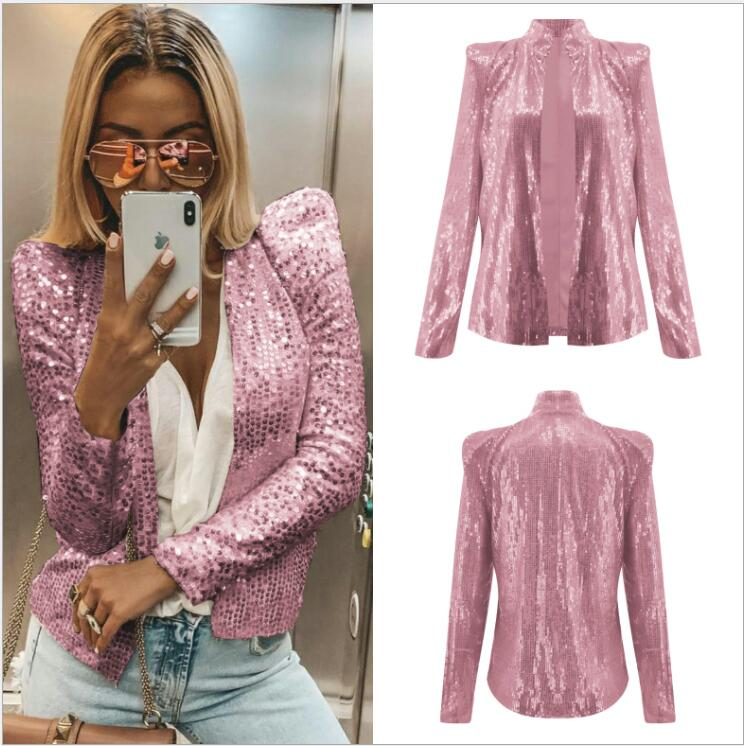Women Sequins Long Sleeved Blazers Shiny Party Blazer Coat Casual Long Sleeve Blazer Jackets Chemise Office Performance Stage