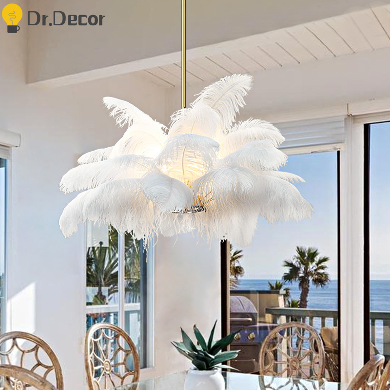 Modern Pure Ostrich Feather Pendant Lights LOFT LED Pendant Lamp Bedroom Decor Living Room Decoration Restaurant Hanging Lamps