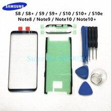 החלפה חיצונית זכוכית לסמסונג גלקסי S8 S9 S10 בתוספת S10e הערה 8 9 10 + LCD תצוגת מסך מגע קדמי חיצוני זכוכית עדשה