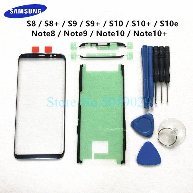 Verre externe de remplacement pour Samsung Galaxy S8 S9 S10 Plus S10e Note 8 9 10 + écran LCD écran tactile avant lentille extérieure en verre