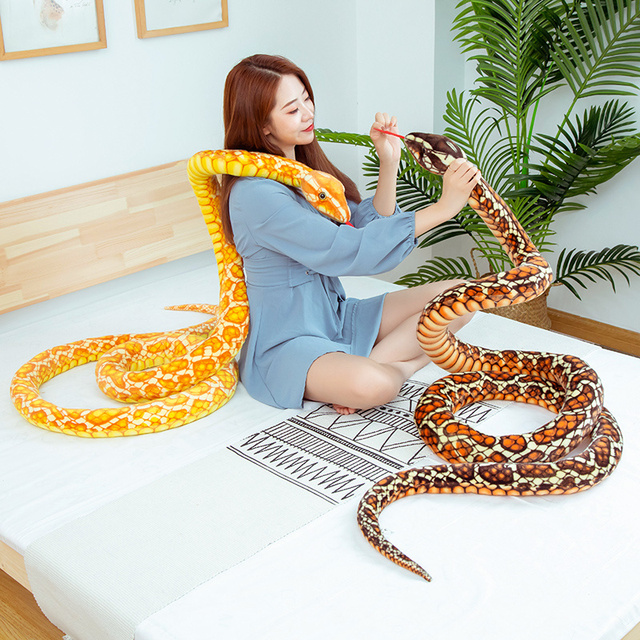 110~300cm Stuffed Boa Cobra Doll Simulated Colorful Snakes Plush Toy Forest Animal Sofa Chair Decorate Props Girls Boys Present 2