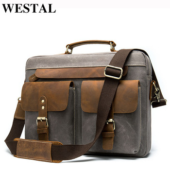 WESTAL Men Briefcases Men's Bag Genuine Leather Business Office Bags For Men Laptop Bag Leather Briefcases Male Lawyer Bags