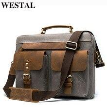 WESTAL Men Briefcases Men's Bag Genuine