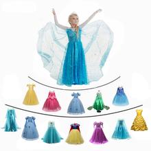 Anna Elsa 2 sukienka dziewczyny przebranie na karnawał dziewczyna księżniczka element ubioru królewna śnieżka Belle sukienka boże narodzenie karnawał 7Yrs odzież dziecięca tanie tanio JXDHN COTTON Poliester spandex Woal Mesh CN (pochodzenie) Kostek O-neck REGULAR Pełna Europejskich i amerykańskich style