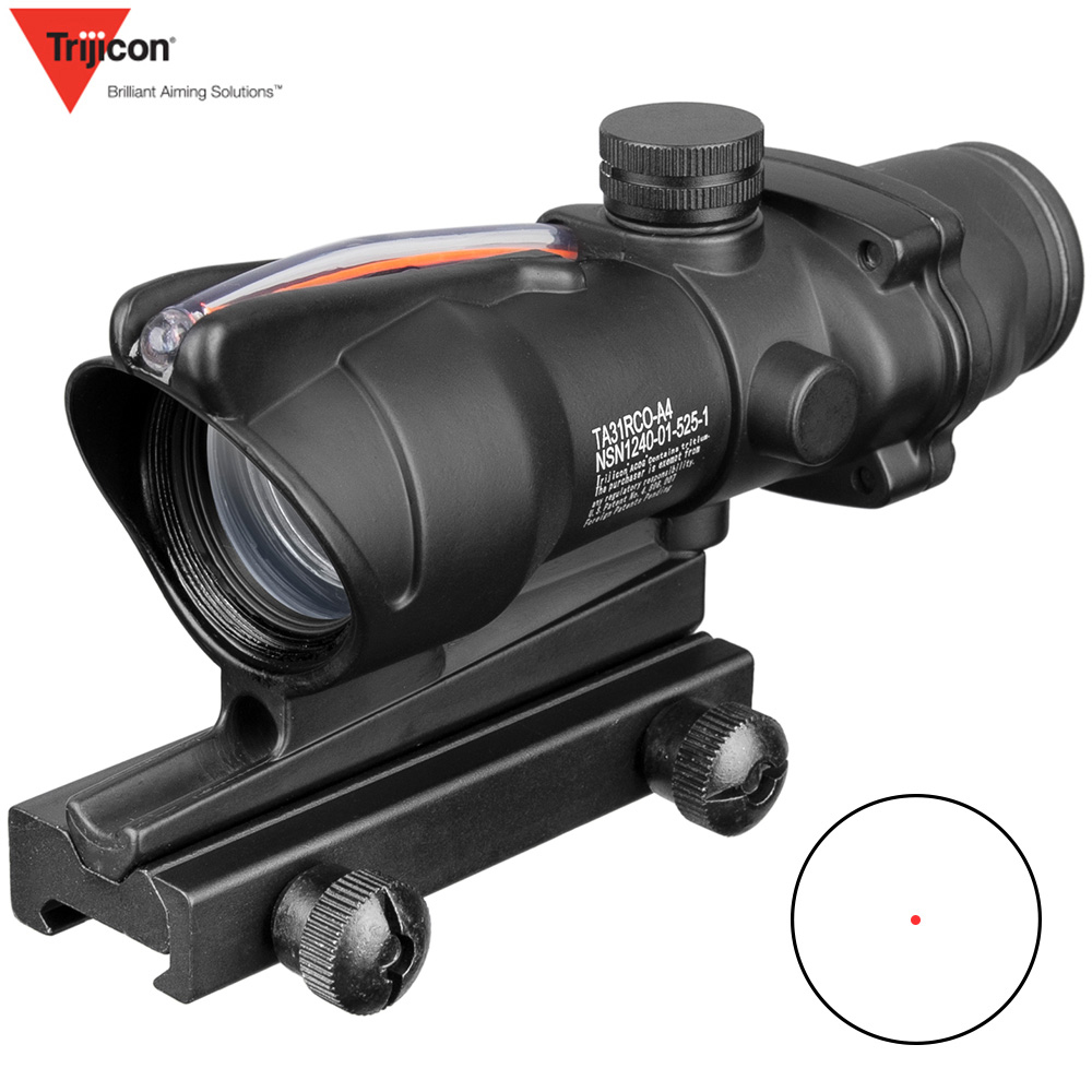 Acog 1x32 Tactical Red Dot Sight Real Green Fiber Optic Riflescope With Picatinny Rail For M16 Rifle Hunting Scope-in Riflescopes from Sports & Entertainment