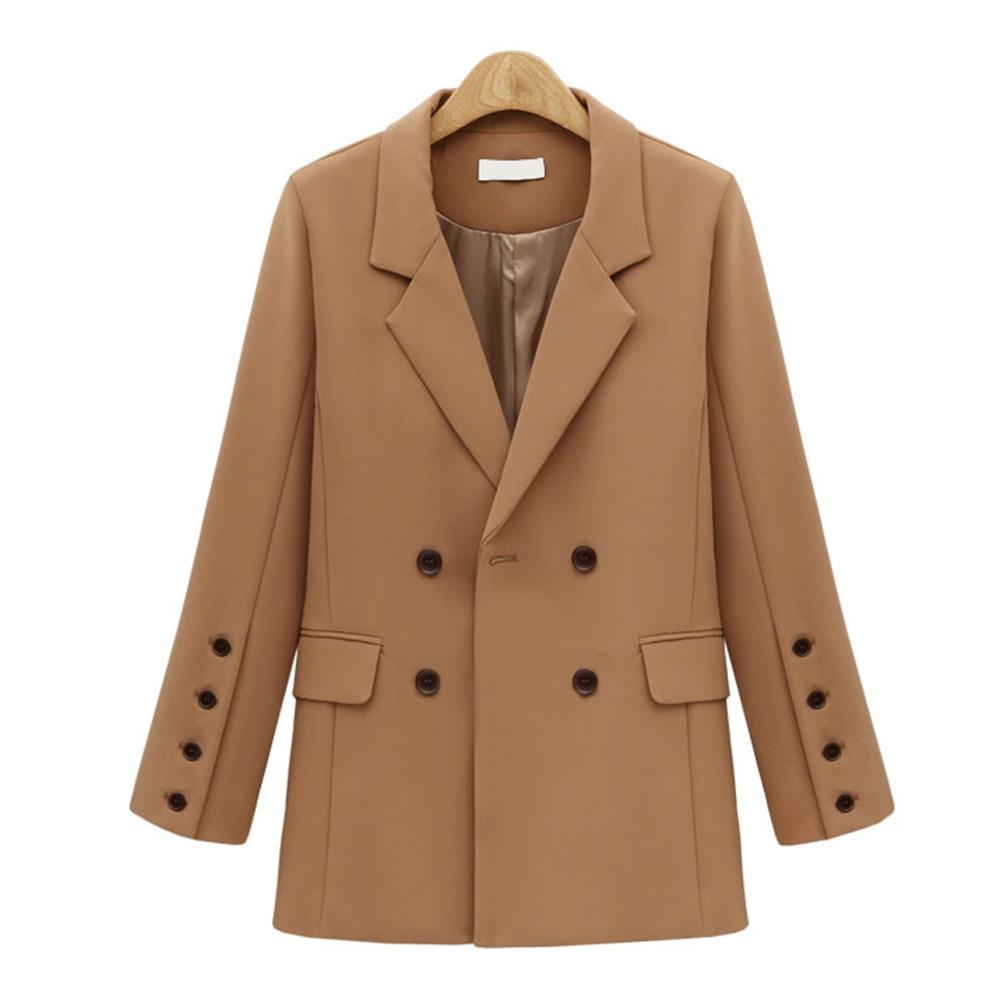 Женский осенне-зимний пиджак 2019 Новый Повседневный двубортный женский пиджак с карманами элегантный блейзер с длинными рукавами