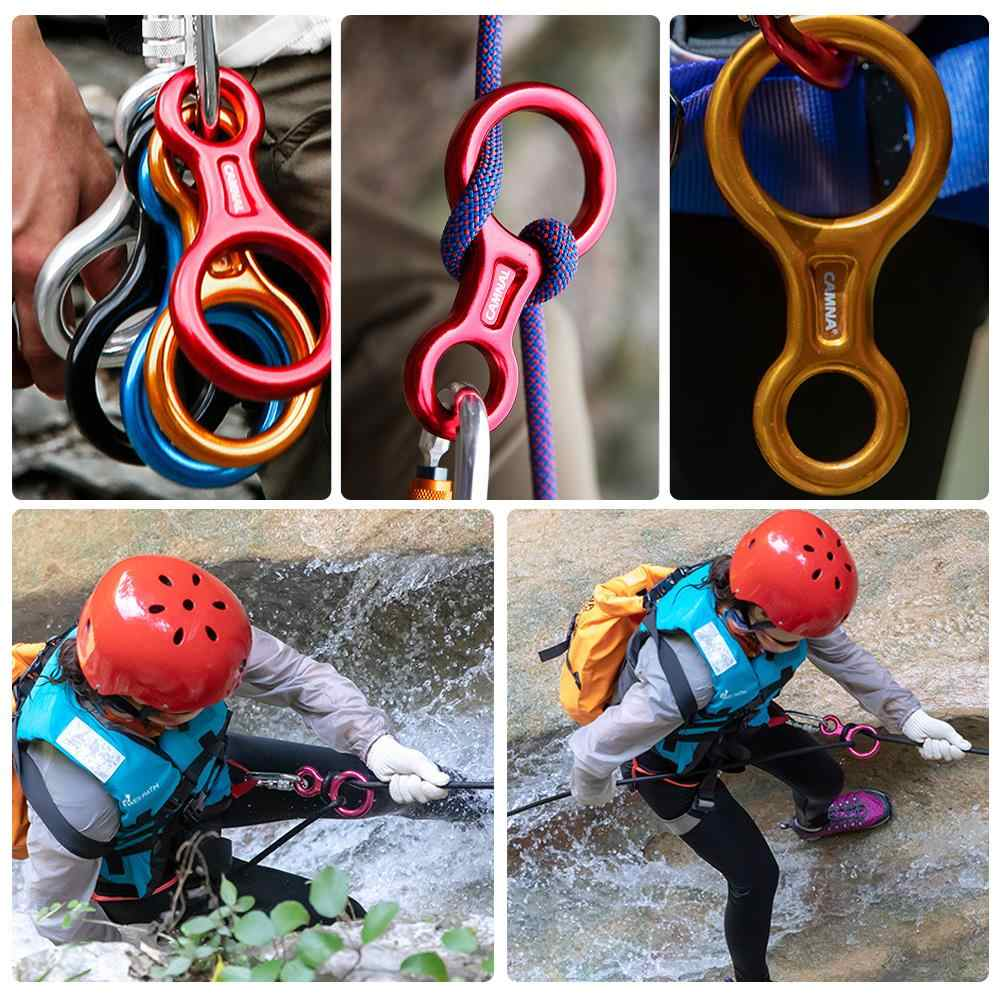 35KN Figure 8 Word Rope Descender Rappel Ring Rock Climbing Safety Rescue Gear