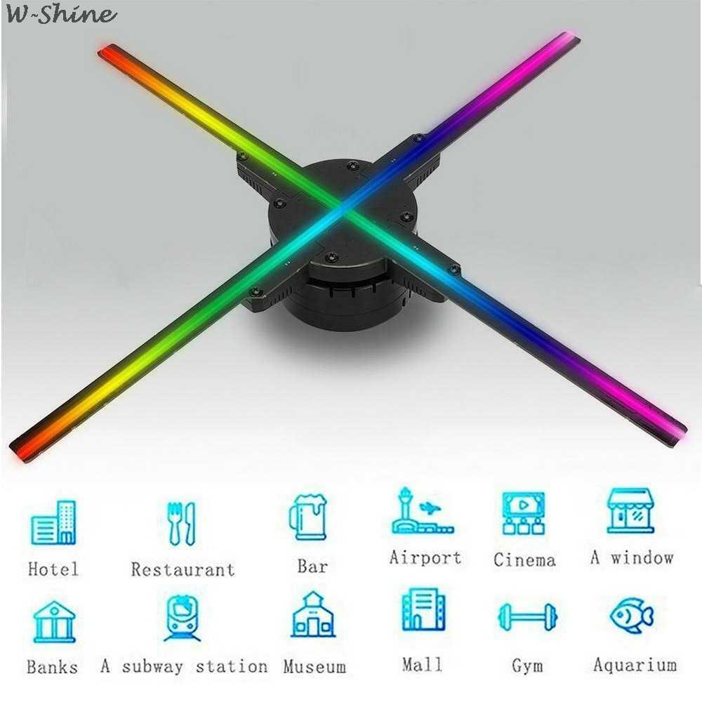 WiFi 3D ホログラフィックプロジェクターホログラムプレーヤー肉眼 Led ディスプレイファン広告ライト 16 グラム TF カードアプリ制御 384/576 led