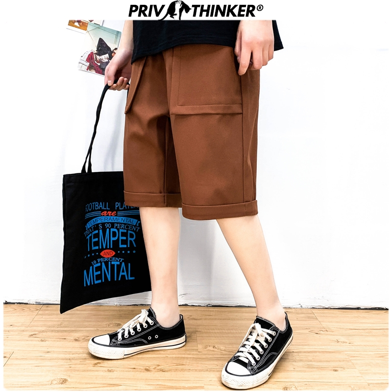 Privathinker 2020 Men Solid Pockets Summer Casual Shorts Men's Fashion Sweatpants Male Korean Knee Length Cargo Shorts Clothes