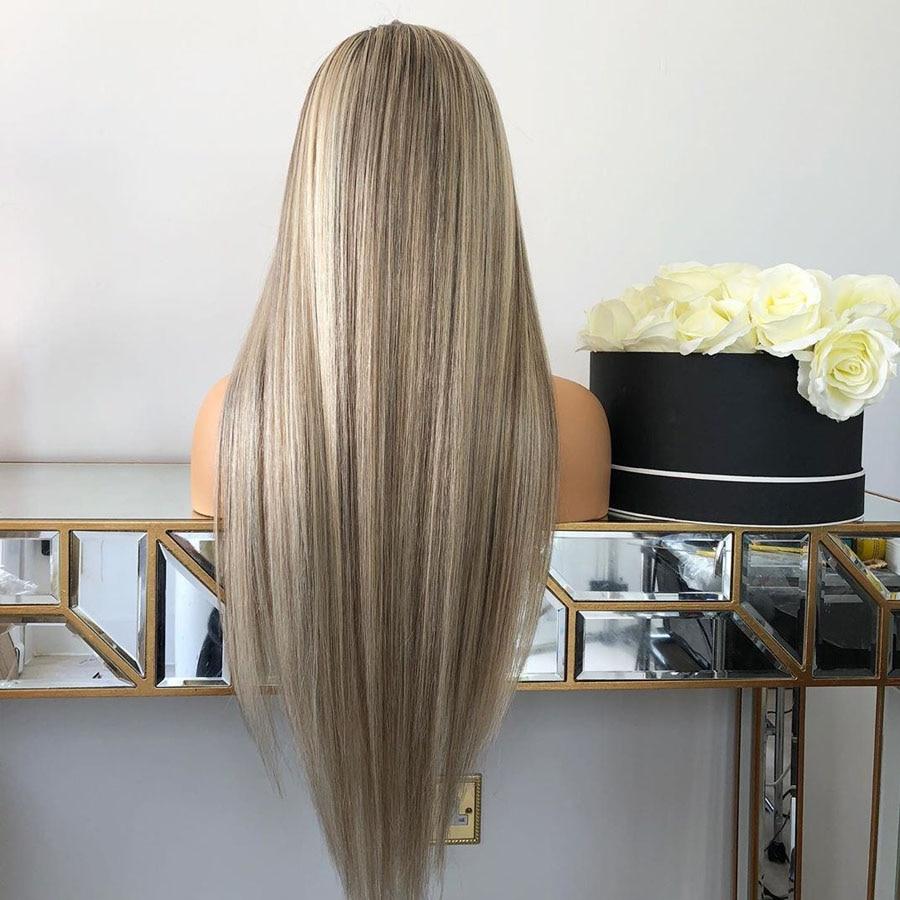 Straight 180% densidade destaque ash blonde ombre