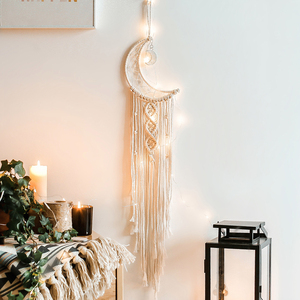 Moon-shaped Dream Catcher Cotton Rope Woven Ornaments Woven Wall Art