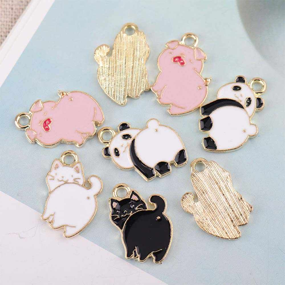 10Pcs Pig Cat Panda Cute Alloy Enamel Charms DIY Jewelry Findings Animal Pendant Necklace Earring Bracelet Handmade Accessories