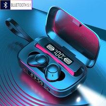 Fones de ouvido bluetooth 5.1 fones de ouvido sem fio com 2000mah caso carregamento ipx7 tws à prova dtwágua estéreo