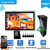 Dragonsview IP Video Door Phone Wireless Wifi Video Intercom 10inch 1080P Smart Doorbell Camera RFID Card Unlock Record