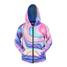 Mens 3d Hoodies Zipper Casual Tracksuit Pocket Hooded Sweatshirt Men 2019 Purple Pink Blue Gradient Streetwear Hip Hop Hoodie