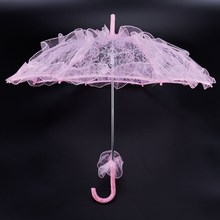 Hot Sale Bride Handmade Bunga Gadis Battenburg Lace Parasol Pesta Pernikahan Berwarna Merah Muda(China)