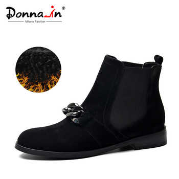 Donna-in Chelsea Booties Women Genuine Leather Ankle Boots Metal Chains Natural Suede Low Heels Boots Fashion Spring Ladies Shoe - DISCOUNT ITEM  53% OFF All Category