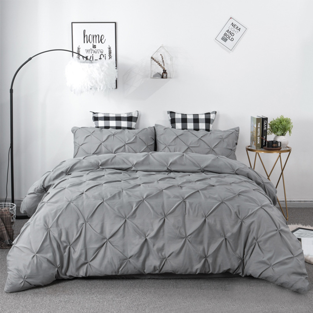 Pleated Style Bedding Set White Pink Grey Duvet Cover King Queen