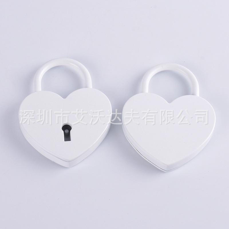 Love Heart Locked White Heart Large Size Heart Shape Lock Zinc Alloy Heart-shape Lock Creative Heart Shape Anniversary Lock Manu