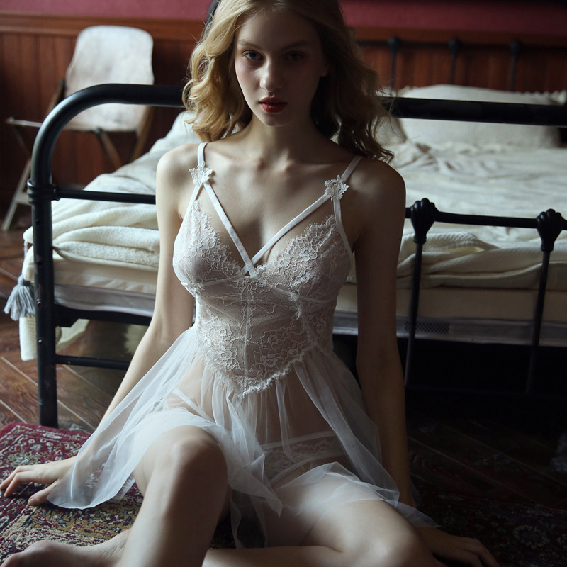 White Sexy Women's Summer Lace Thin Section See-through Strap Nightgown Hot Hollow Night Dress With T Pants