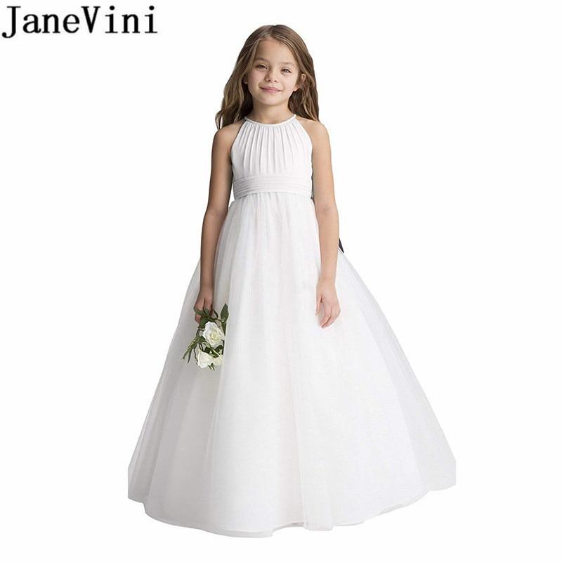 JaneVini Ivory Chiffon Fancy Flower Girl Dresses Long A Line Kids Little Girl Dresses For Wedding Party Vestidos De Comunion