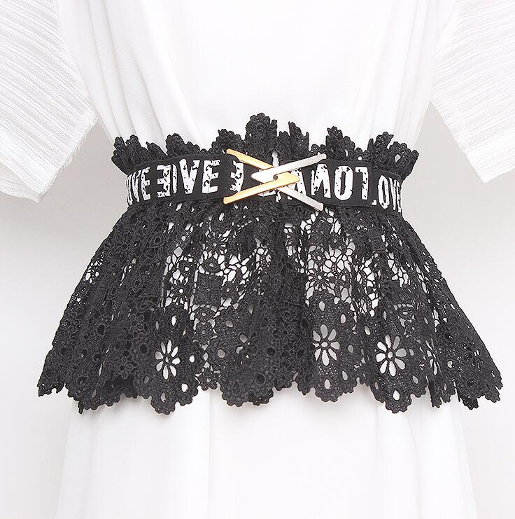 Women's Runway Fashion Letter Belt Black Elastic Lace Cummerbunds Female Dress Corsets Waistband Belts Decoration Wide Belt R468