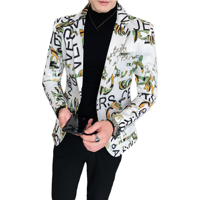 New Men Blazer Luxury Flowers Allover Printing Prom Suit Blazers Single Button Party Male Nightclub Slim Fit Wedding Suit Jacket