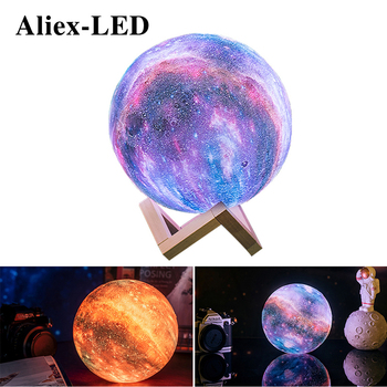 creative nordic christmas deer the merry go round dandelion moon lamp milky way a night light 3D Moon light colorful changes LED Night lights rgb bedroom decor touch charging Home decorative lamp creative Christmas Gift