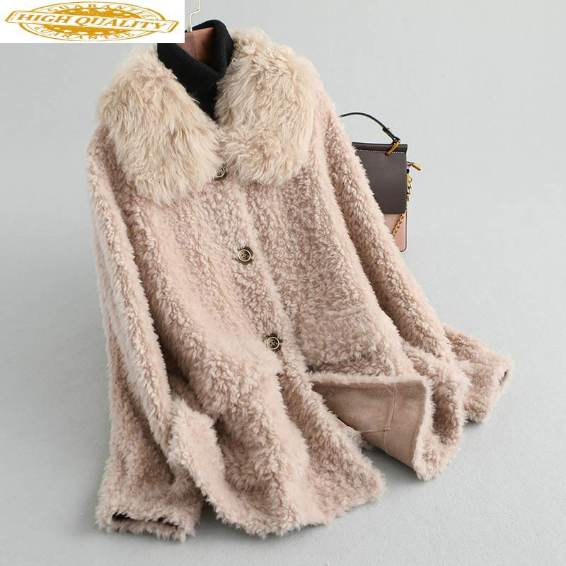 Real Fur Coat Women Winter Jacket Sheep Shearing Furry 100% Wool Coats Fluffy Jacket Overcoat 2020 KQN19503 KJ2949