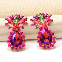 Wholesale Pineapple Shaped Earrings High-Quality Colorful Crystal Dangling Drop Fine Jewelry Accessories For Women