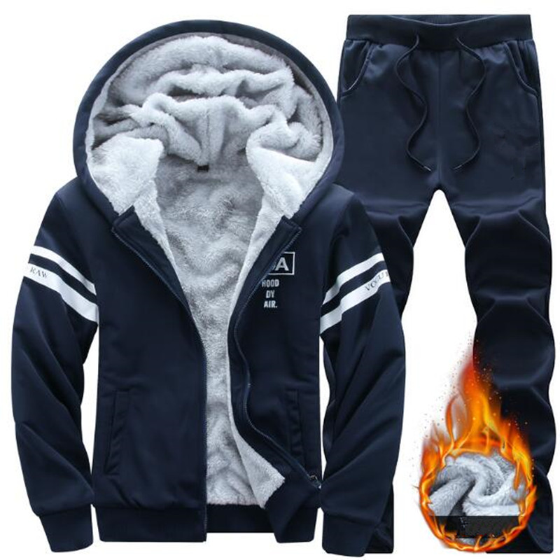 2019 NEW Tracksuit Men's Set Winter Running Two Piece Sets Cotton Inner Fleece Thick Hooded 2PC Jacket Pants Sport Jogging Suits