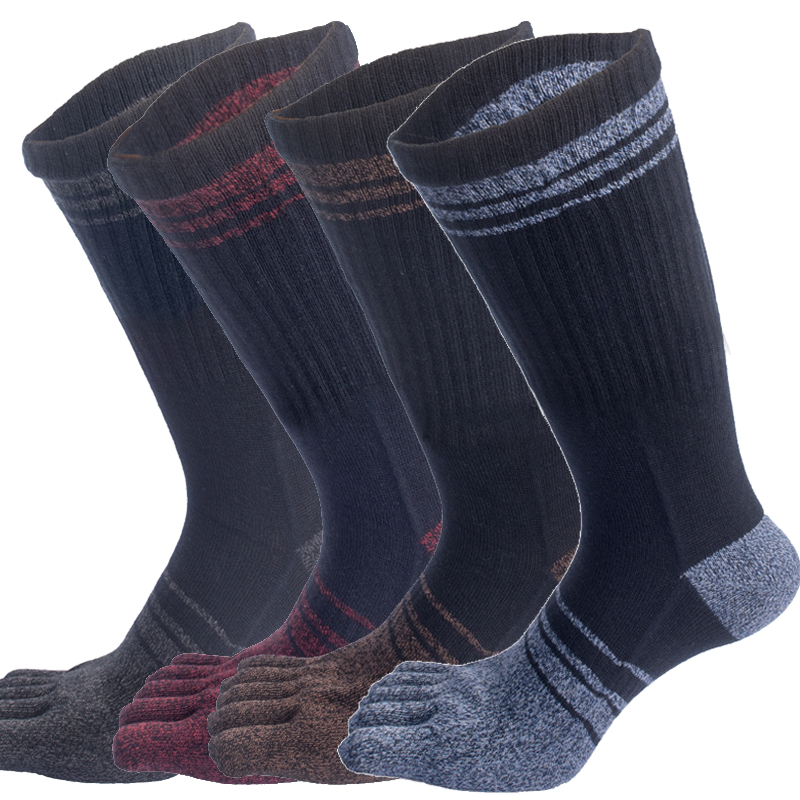 Mens Long Tube Five Finger Socks With Heel Japanese Style Cotton Thick Warm Breathable Toe Socks Meias Calcetines Skarpetki