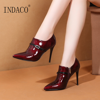 Autumn Burgundy Ankle Boots for Women High Heel Women Shoes Autumn 10cm
