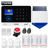 2.4 Inch TFT Screen WIFI GSM Wireless Home Security Alarm System Motion Detector APP Control Solar Siren Smoke Detector Kit