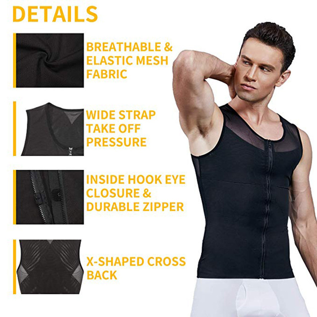 Men Slimming Body Shaper Bodysuit Compression Shirts Waist Trainer Corrective Posture Sweat Vest Corset Man Belly Belt 2