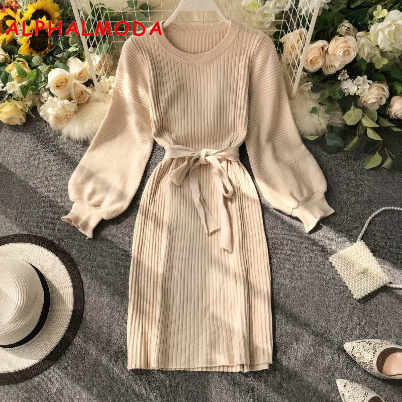ALPHALMODA 2019 Autumn Women Long-sleeved Pullovers Sashes Casual Knitting Dress Knee Length Solid Simple Winter Sweater Dress