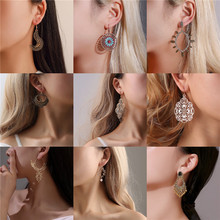 Luokey Women Exaggerated Dangle Earrings Geometric Ethnic Vintage Statement Earrings Hollow Bridal Party Wedding Jewelry Brincos luokey women exaggerated dangle earrings geometric ethnic vintage statement earrings hollow bridal party wedding jewelry brincos