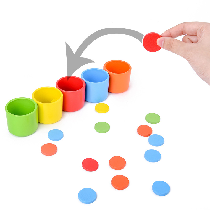 Montessori Materials Color Classification Matching Cup Game Kids Early Educational Toy For Children Baby Wooden Toys Desk Game