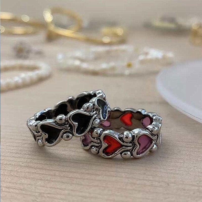 Vintage aşk kalp yüzük yeni bireysellik barok Hit renk Metal yüzükler bayan parmak dekor kadınlar yaratıcı serin parmak yüzük